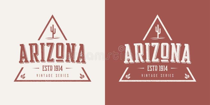 Le T-shirt et l'habillement de vecteur de vintage texturisés par état de l'Arizona conçoivent illustration libre de droits