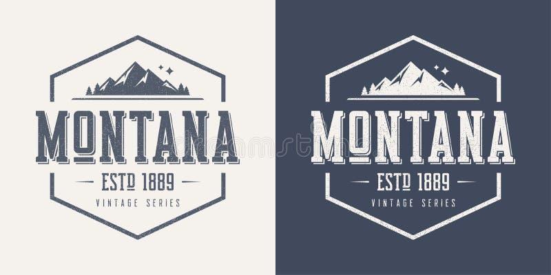 Le T-shirt et l'habillement de vecteur de vintage texturisés par état du Montana conçoivent illustration libre de droits