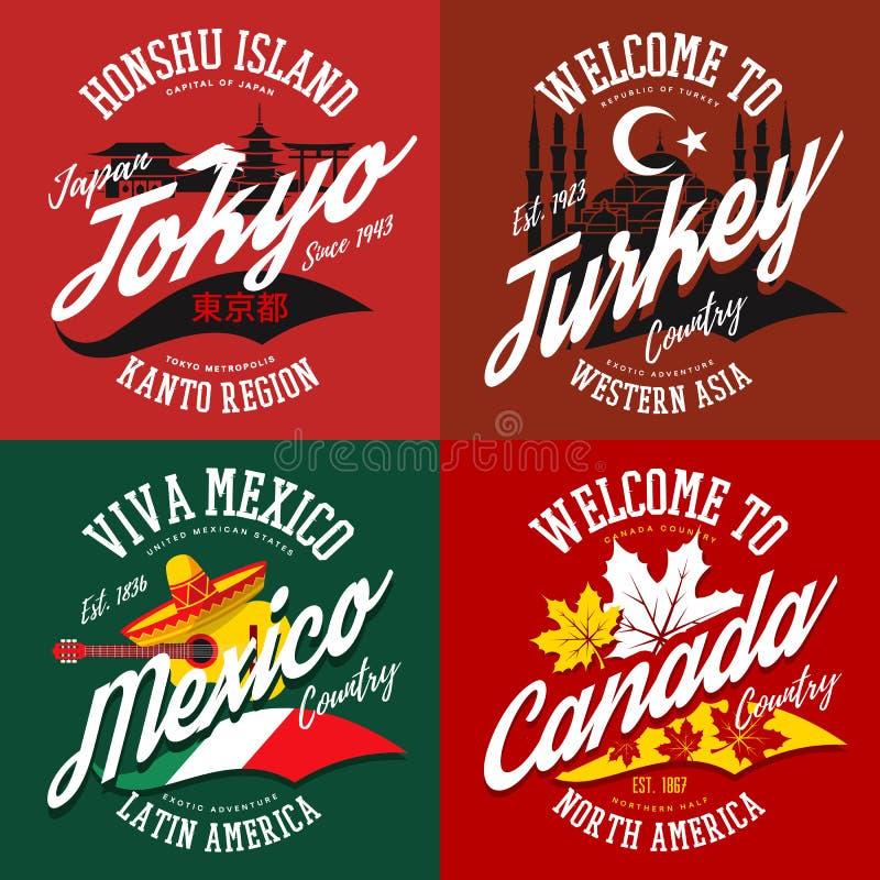 Le T-shirt imprime pour le Canada, Mexique, Turquie, Tokyo illustration de vecteur
