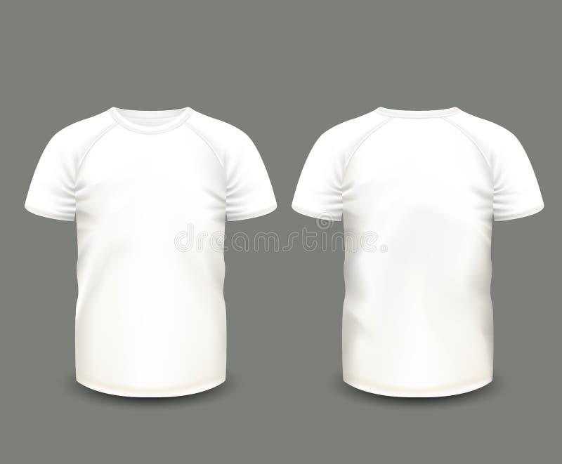 Le T-shirt raglan blanc des hommes dans l'avant et les vues arrières Descripteur de vecteur Maille faite main entièrement editabl illustration de vecteur