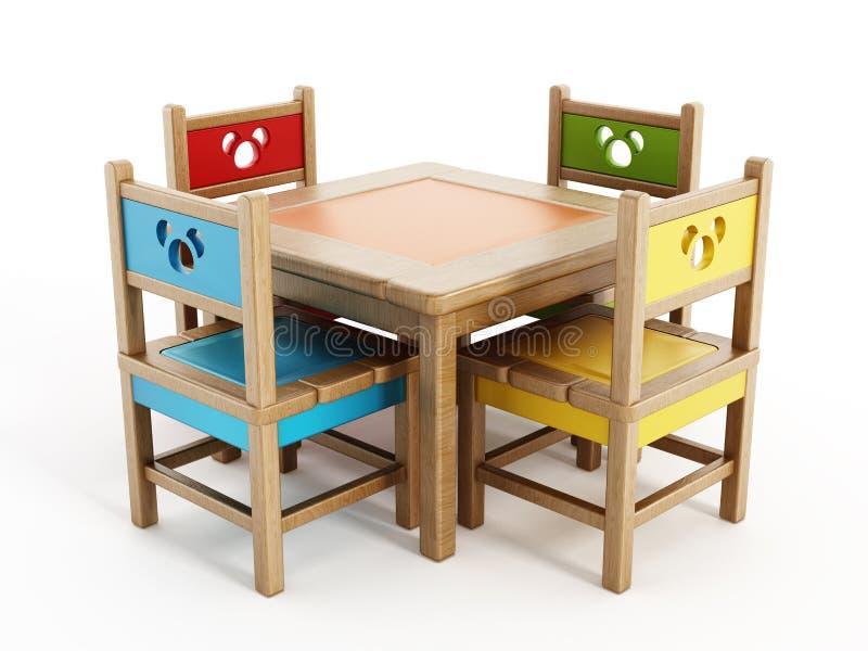 Le Tabelle e le sedie dei bambini illustrazione di stock