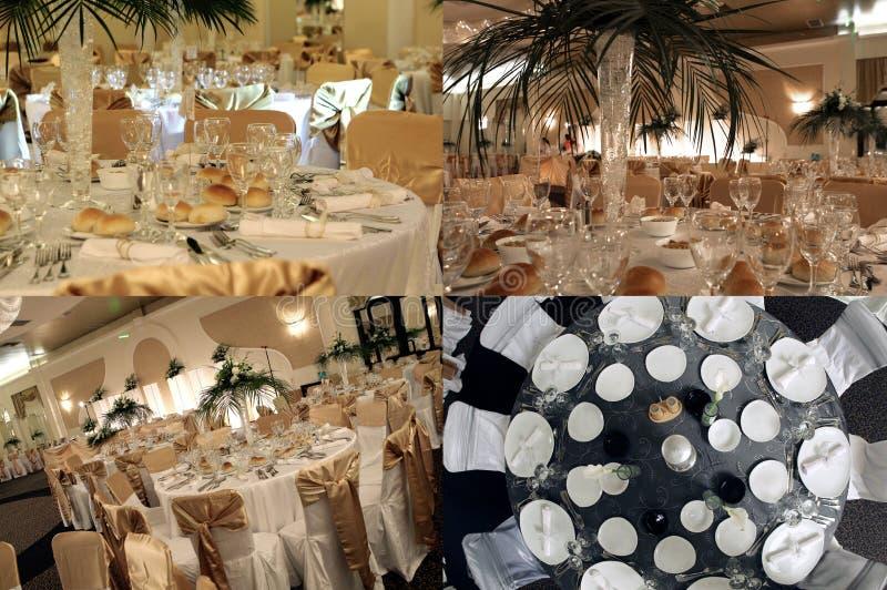 Le Tabelle vedute da sopra, pronto per nozze, collage, griglia 2x2, schermo hanno spaccato in quattro parti immagine stock