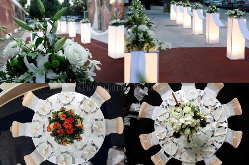 Le Tabelle vedute da sopra, pronto per nozze, collage, griglia 2x2, schermo hanno spaccato in quattro parti fotografie stock libere da diritti