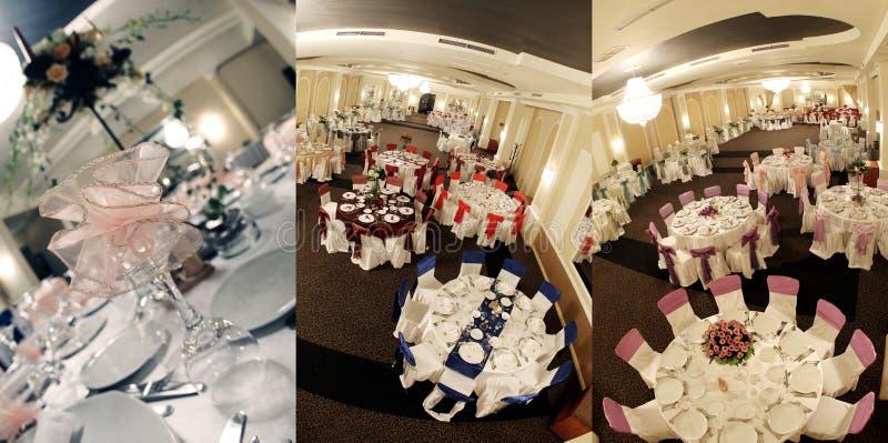 Le Tabelle vedute da sopra, pronto per nozze, schermo hanno spaccato in tre parti, collage fotografia stock libera da diritti