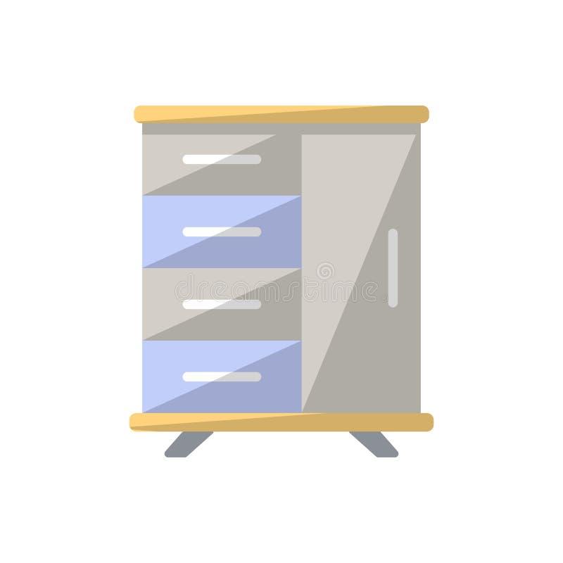 Le Tableau avec des tiroirs a isolé l'icône dans le style plat illustration libre de droits