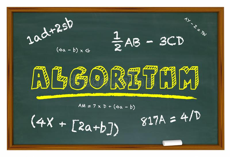 Le tableau d'algorithme apprennent la solution d'équation de maths illustration de vecteur