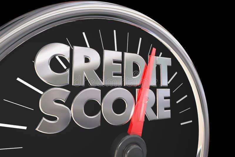 Le tachymètre de score de crédit meilleur améliorent le nombre d'estimation illustration stock