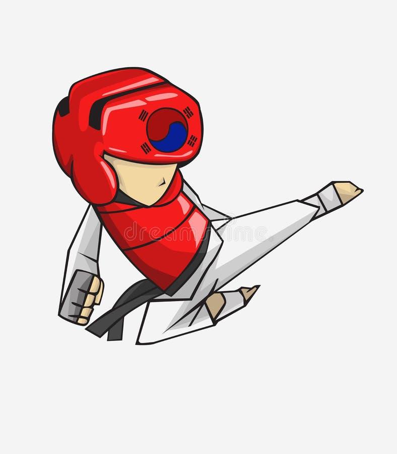 Le Taekwondo vecteur martial de silueta de filles d'art illustration libre de droits