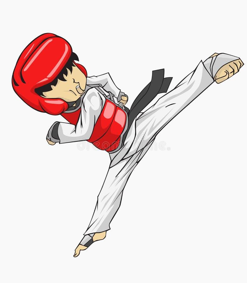 Le Taekwondo vecteur martial de silueta de filles d'art illustration stock