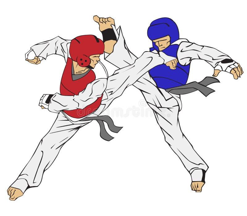 Le Taekwondo vecteur martial de silueta de filles d'art illustration de vecteur