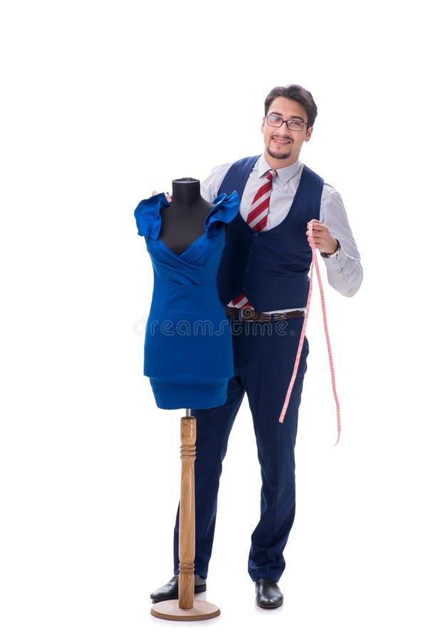 Le tailleur masculin d'isolement sur le fond blanc image libre de droits
