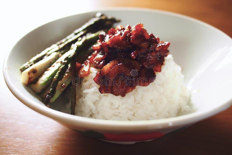 Le Taiwanais a braisé le porc sur le riz cuit à la vapeur, fan de rou de RU image libre de droits
