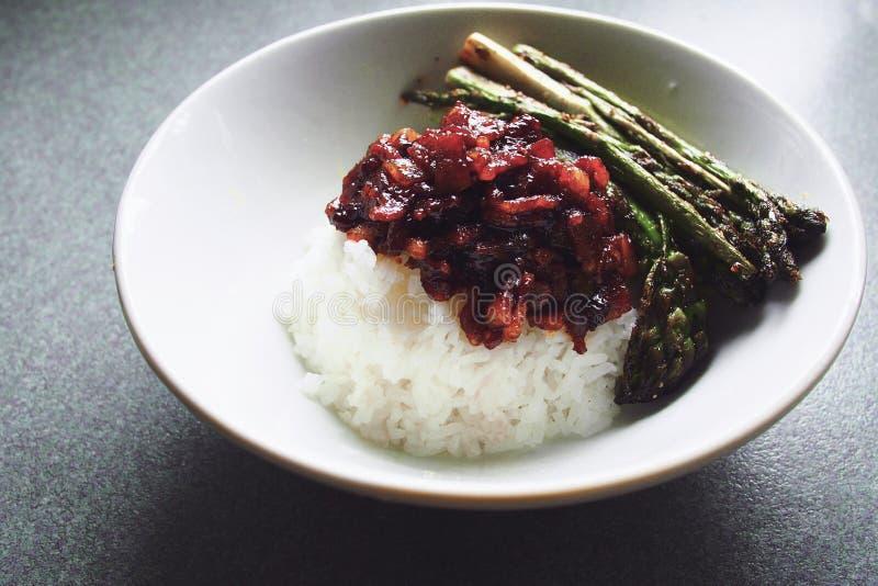 Le Taiwanais a braisé le porc sur le riz cuit à la vapeur, fan de rou de RU image stock