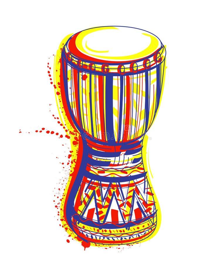 Le tambour de bongo avec éclabousse dans le style d'aquarelle illustration de vecteur