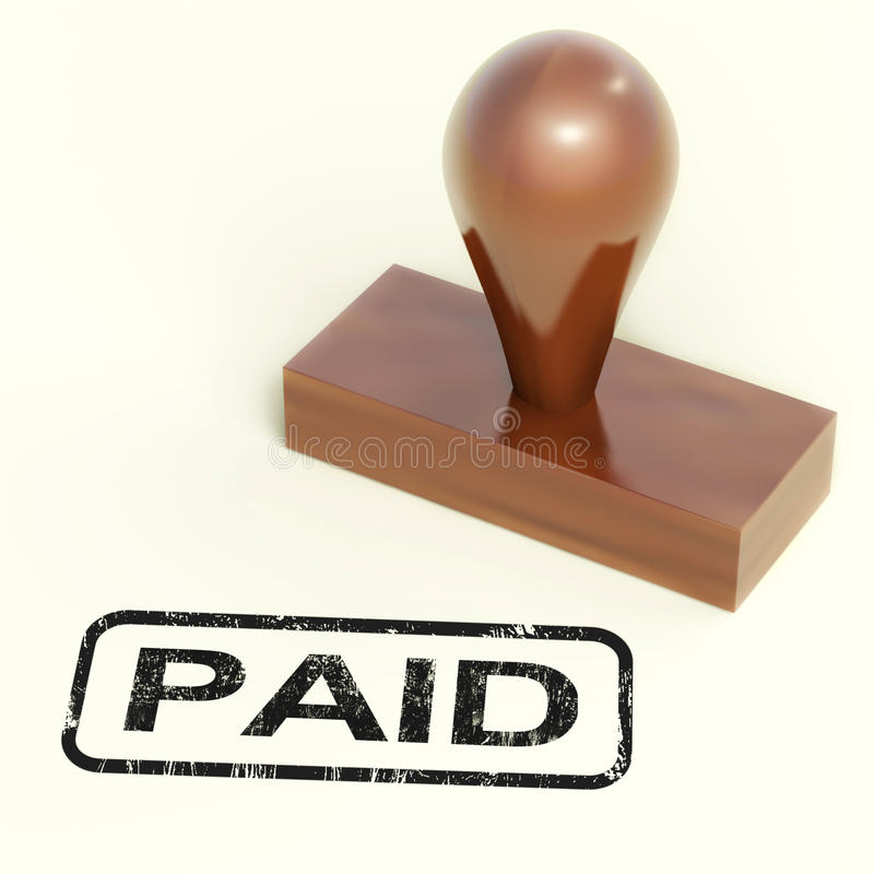 Le tampon en caoutchouc payé affiche la confirmation de paiement illustration libre de droits