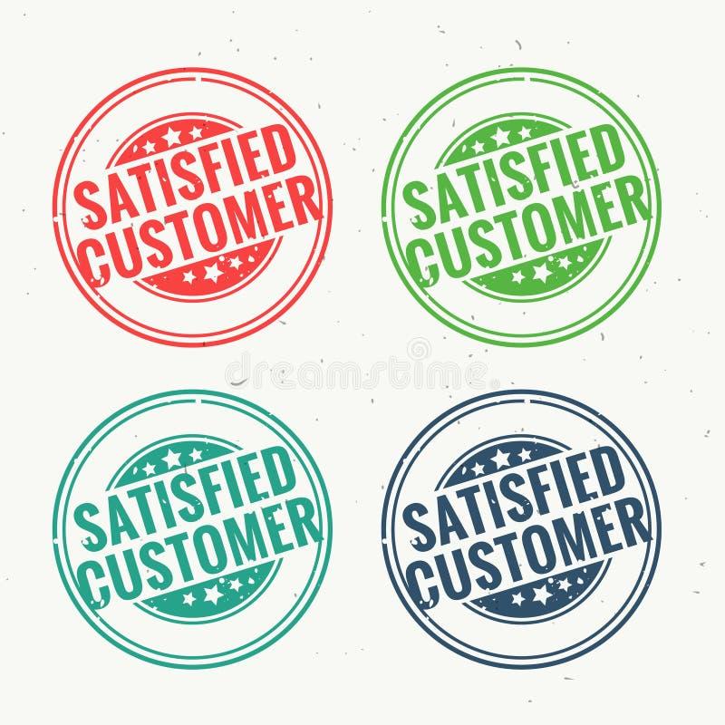 Le tampon en caoutchouc satisfaisant de client a placé dans quatre couleurs différentes illustration de vecteur