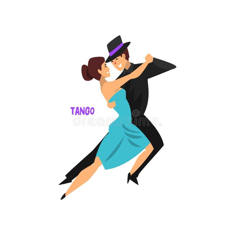 Le tango professionnel de danse de couples de danseur, les paires du jeune homme et la femme se sont habillés dans l'habillement  illustration libre de droits