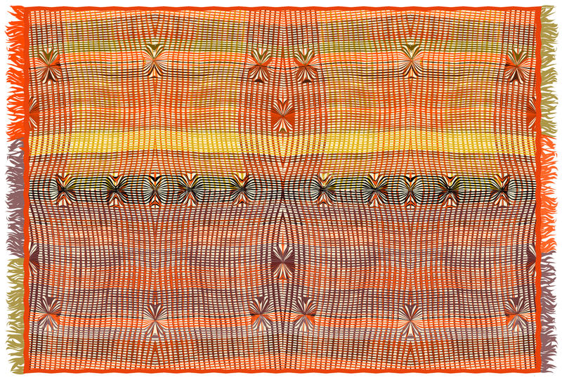 Le tapis coloré avec le grunge a barré le modèle et la frange d'armure dans le style indien illustration stock