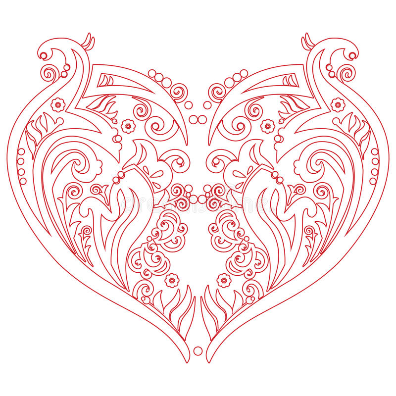Le tatouage de coeur d'amour de Swirly de valentines a inspiré la carte de coupe-circuit illustration stock
