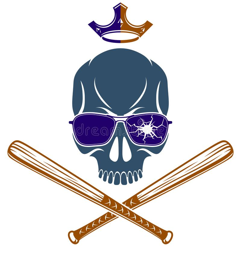 Le tatouage, l'emblème de bande ou le logo criminel avec les battes de baseball agressives de crâne conçoivent des éléments, vect illustration de vecteur