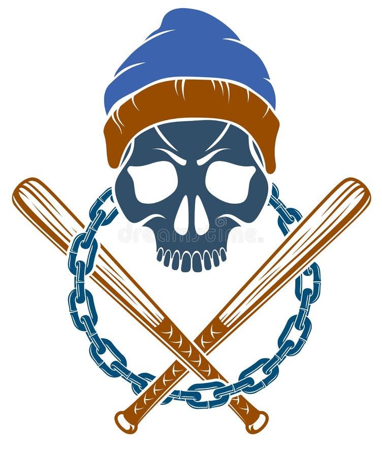 Le tatouage, l'embl?me de bande ou le logo criminel avec les battes de baseball agressives de cr?ne con?oivent des ?l?ments, vect illustration libre de droits