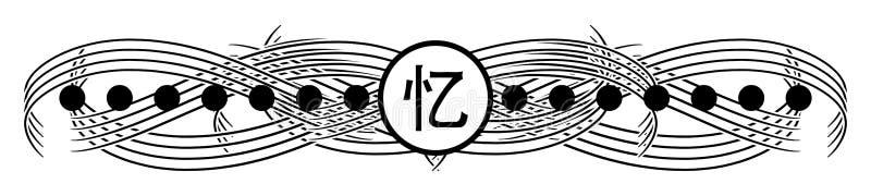 Le tatouage noir élégant avec idéogramme rappelle isolé photo libre de droits
