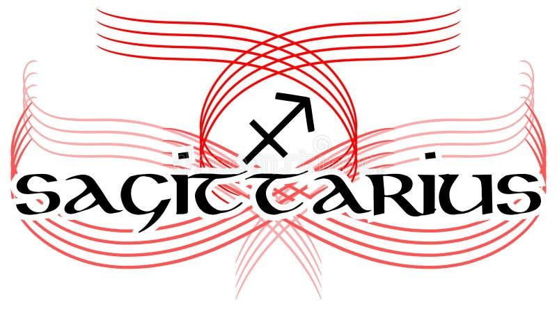 Le tatouage noir et blanc de Sagittaire de mot a isolé illustration de vecteur
