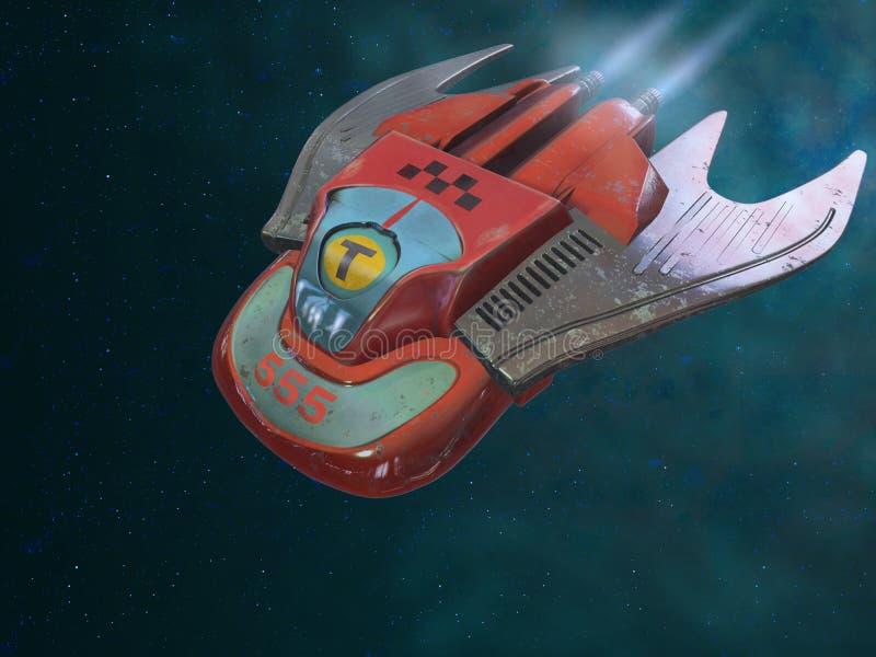 Le taxi est sur le chemin Bateau-taxi de l'espace illustration 3D illustration de vecteur