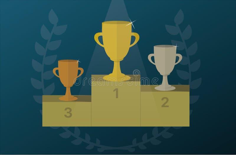 Le tazze del trofeo su un piedistallo con alloro si avvolgono Vettore dell'icona del premio immagini stock libere da diritti