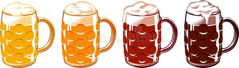 Le tazze di vetro di birra hanno formato fossette su Lager Stout Porter Ale Set leggero royalty illustrazione gratis