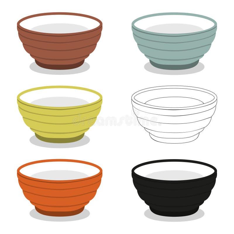 Le tazze o la ciotola di differente cly scrive l'insieme dell'illustrazione illustrazione di stock