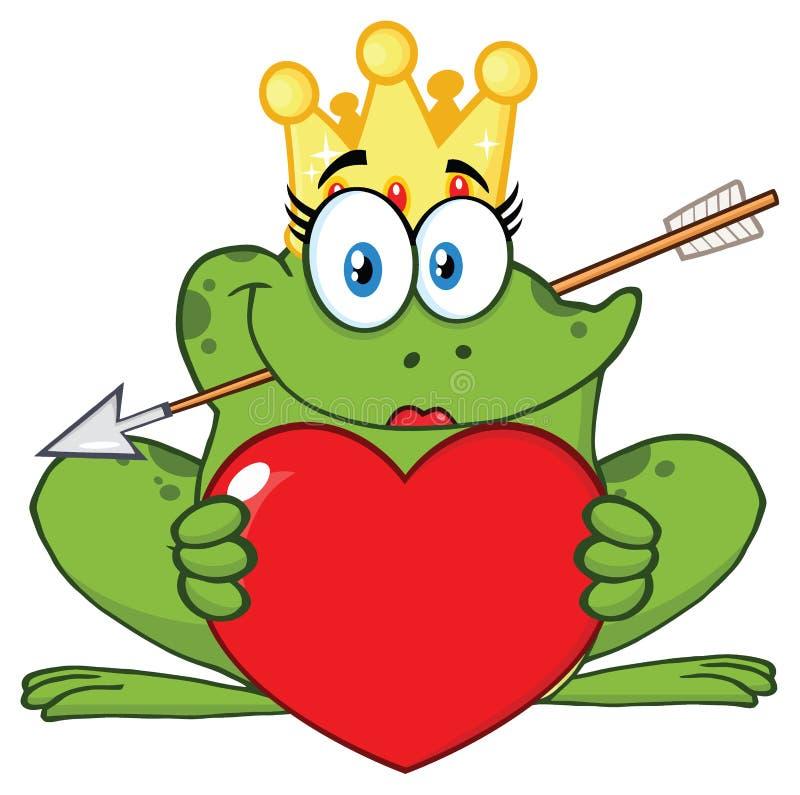 Le teckenet för prinsessa Frog Cartoon Mascot med kronan och pilen som rymmer en förälskelsehjärta stock illustrationer