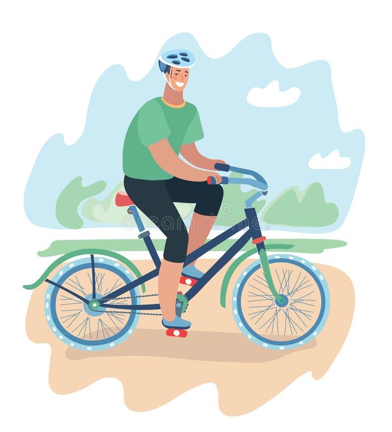 Le tecknad filmmanridning på en cykel stock illustrationer