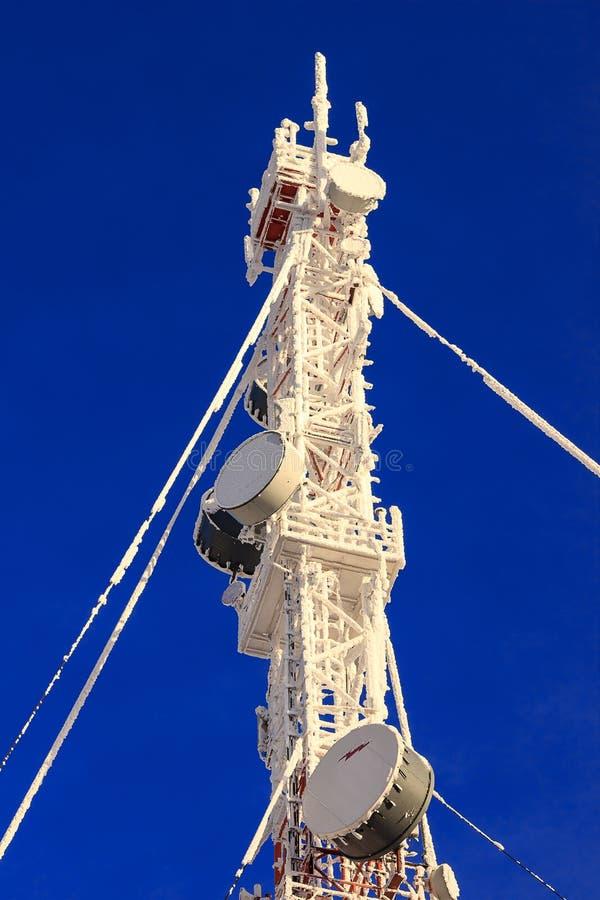Le telecomunicazioni alberano su un fondo blu immagini stock libere da diritti