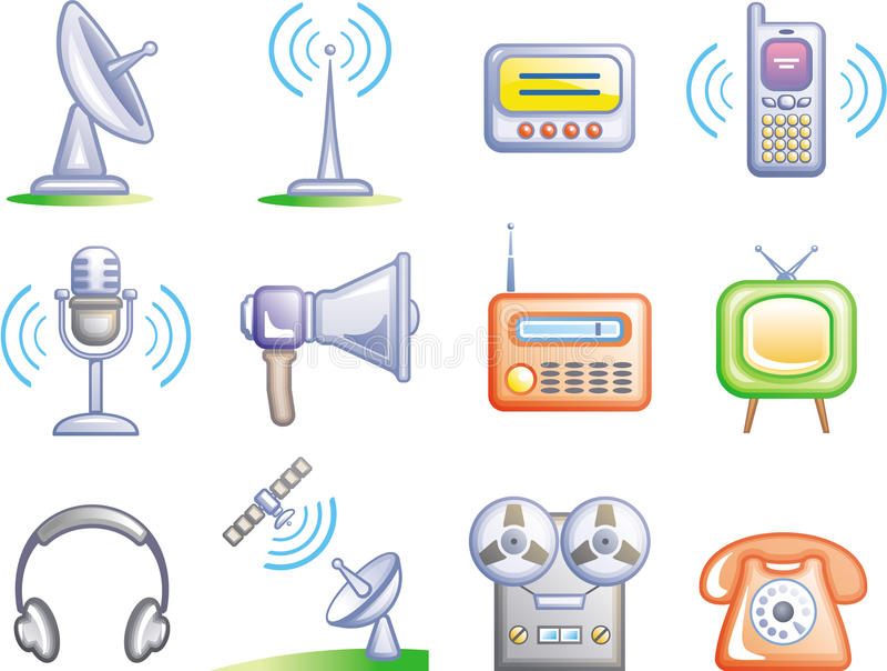 Le Telecomunicazioni - icone di vettore impostate illustrazione vettoriale