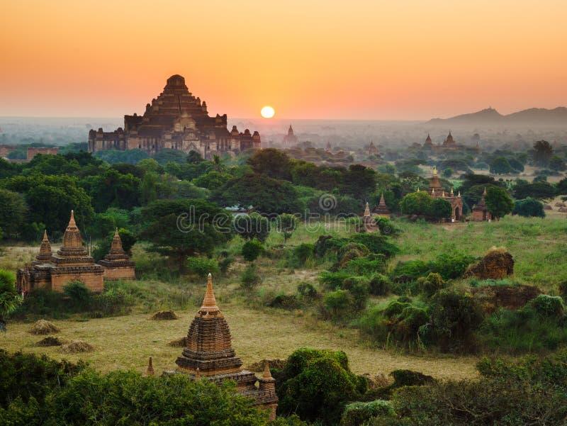 Le tempie di bagan ad alba, Bagan, Myanmar fotografie stock libere da diritti