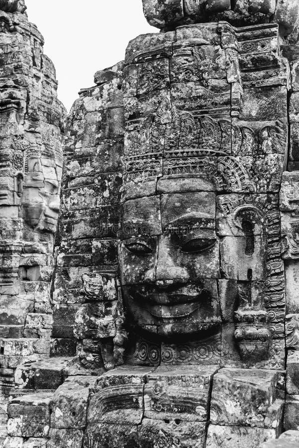 Le temple Bouddha de sourire de Bayon font face à Angkor Wat Siem Reap Cambodia images stock