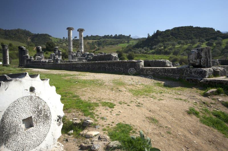 Le temple d'Artémis, Sardis, Manisa, Turquie images libres de droits