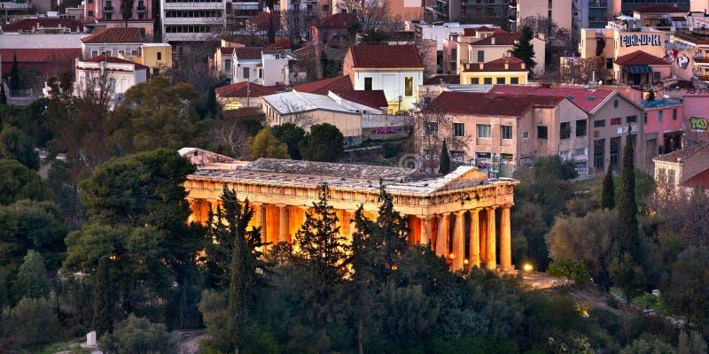 Le temple de Hephaestus le soir, Athènes, Grèce images libres de droits