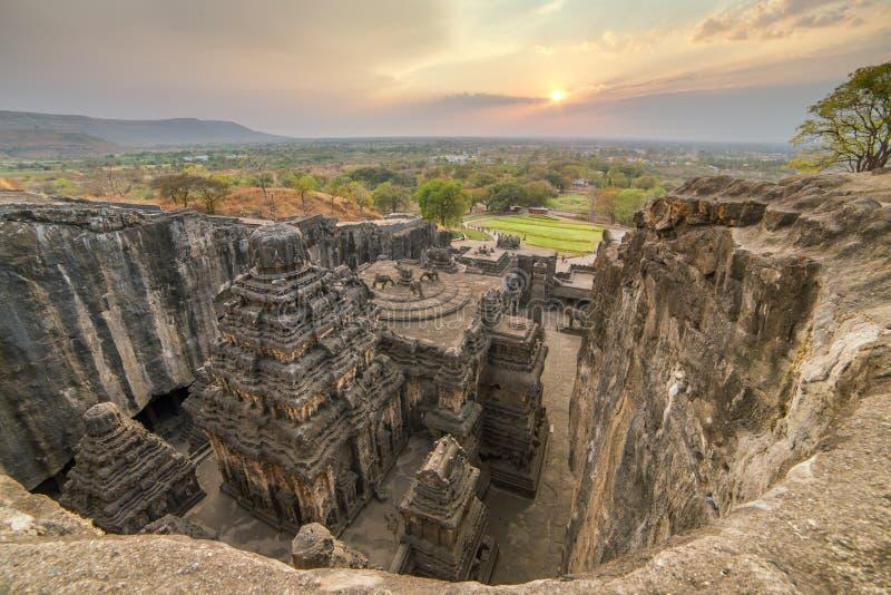 Le temple de Kailas dans Ellora foudroie le complexe image libre de droits