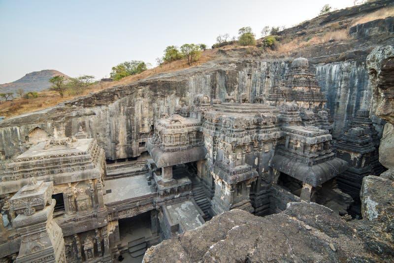 Le temple de Kailas dans Ellora foudroie le complexe dans l'Inde images stock