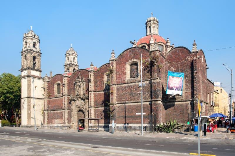Le temple de San Hipolito, un site important de pèlerinage religieux à Mexico image libre de droits