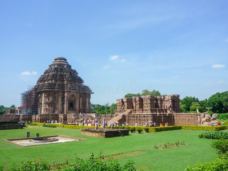 Le temple du soleil à l'état d'Odisha, Inde image libre de droits