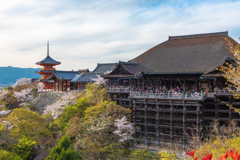 Le temple et les fleurs de cerisier de dera de Kiyomizu assaisonnent Sakura sur le sprin photographie stock libre de droits
