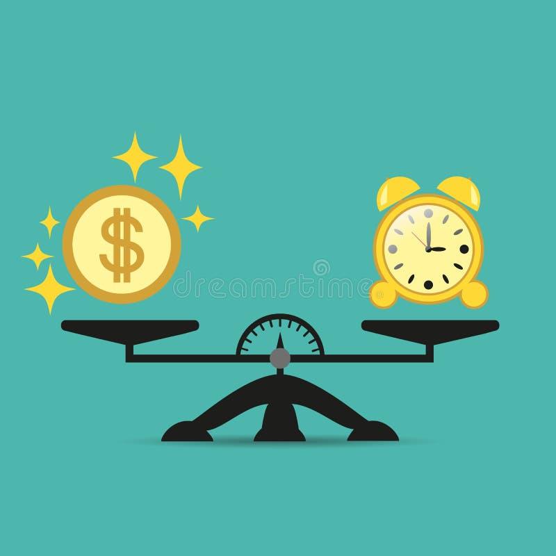 Le temps, c'est de l'argent Concept d'affaires Temps et argent d'équilibre sur les échelles Illustration de vecteur illustration stock