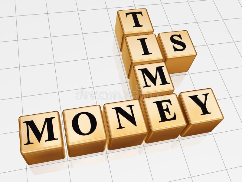Le temps, c'est de l'argent d'or illustration stock