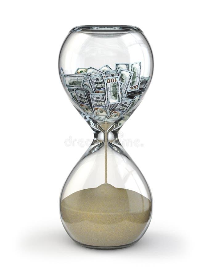 Le temps, c'est de l'argent. Inflation. Sablier et dollar. illustration stock