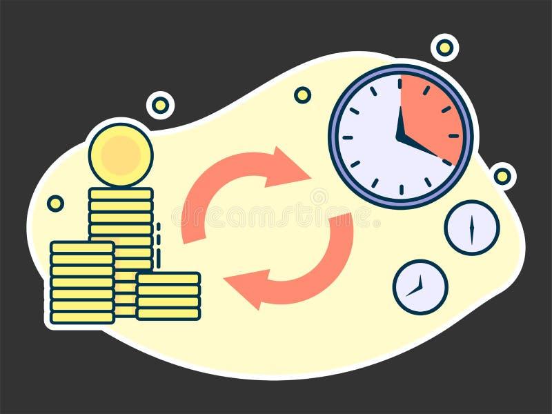 le temps, c'est de l'argent, prêts et concept rapides de dépôts illustration stock