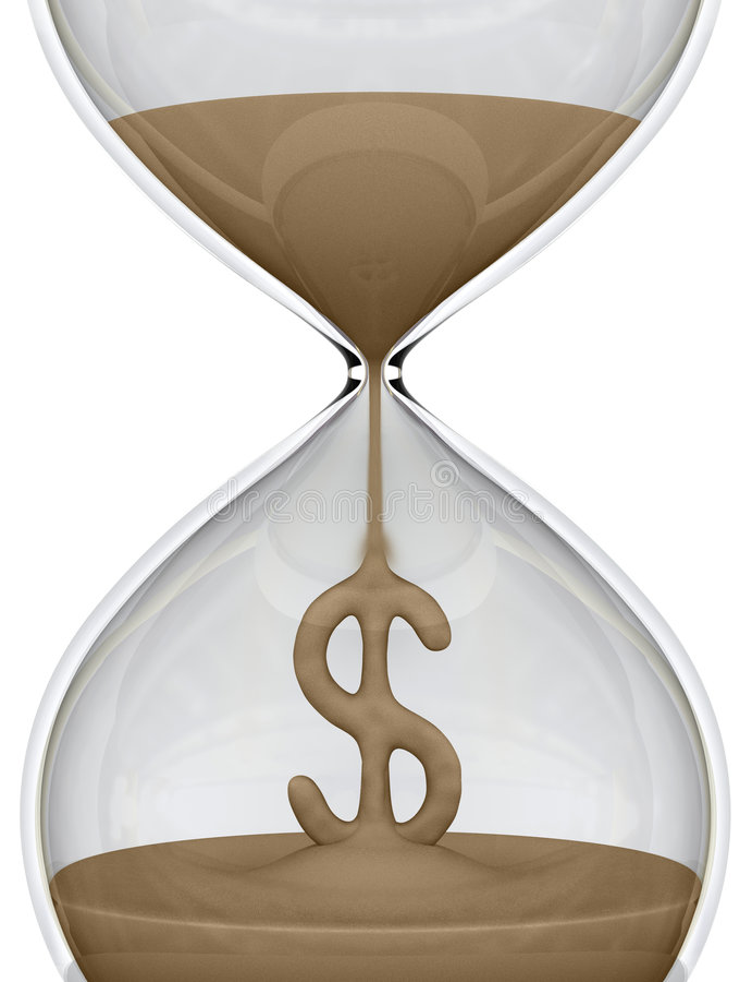 Le temps, c'est de l'argent (sablier) illustration stock