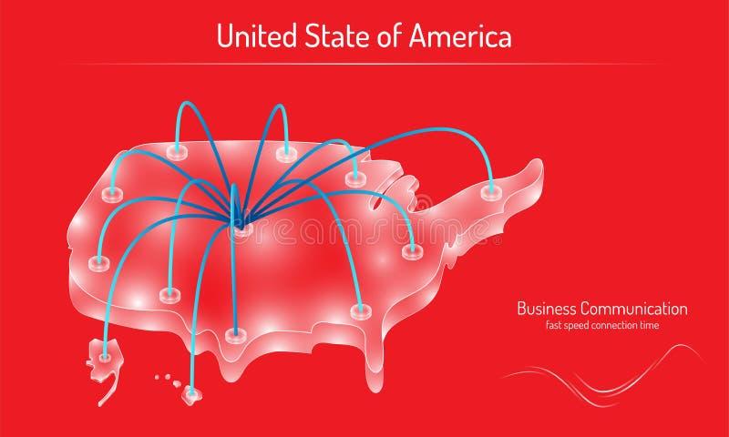 Le temps de connexion réseau de vitesse rapide de communication d'affaires sur l'état uni en verre blanc en cristal vert de l'Amé illustration libre de droits